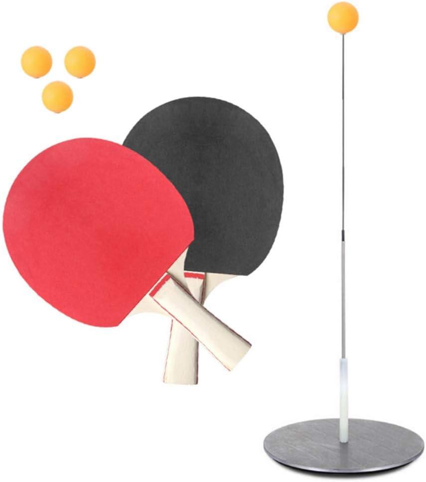 WWMH Tenis de Mesa Juguete Entrenador de Tenis de Mesa Equipo de Entrenamiento Kit Elastic Soft Shaft Bolas de Ping Pong de Madera Paletas para Adultos y niños para el Ocio, la descompresión