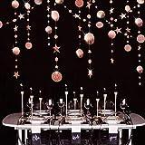 Guirnalda de Estrellas Puntos de Círculo Oro Rosa Decoración Colgante Reflectante Bandera Brillante de Papel Decoración de Fiestas de 52 pies para Boda/Aniversario/Cumpleaños/Bautizo de Bebé/Navidad