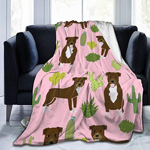 magic ship Pitbull Terrier Pink Cactus Trendy Niedlicher Rettungshund Schokolade Flanell Fleece Decke Superweiche und Warme Fuzzy Plüsch Gemütliche Luxusbettdecken 60X50 Zoll