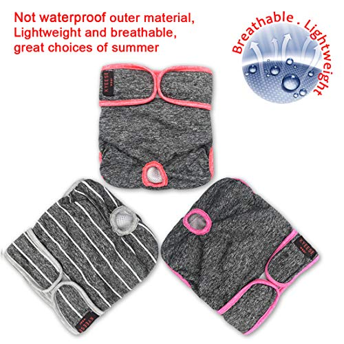"""kyeese Sports Female Dog Diapers Reusable (3 Pack) Breathable Dog Wraps Waist 11-17"""" Washable with Inside Pocket Fashion Colors"""
