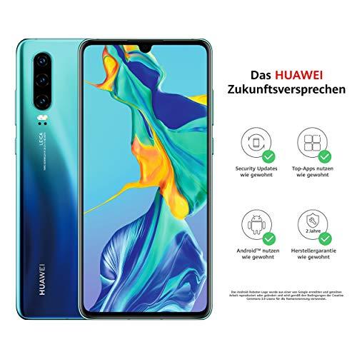 HUAWEI P30 Dual-SIM Smartphone Bundle (6,47 Zoll, 128 GB ROM, 6 GB RAM, Android 9.0) Aurora + USB-Adapter [Exklusiv bei Amazon] - DE Version