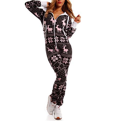 Crazy Age knuffelige jumpsuit sweat overall full-body pak met rendier- ijskristallen motieven CA-J-603 relaxen chillen (zwart/roze, XXL)
