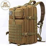 Songwin 43L Militare tattico Zaino,Multifunzione e Impermeabile Army Patrol Zaino da Assalto,Molle Bug out Bag per Campeggio Trekking Escursionismo Alpinismo. (Cachi)