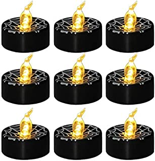 GOSTONG 12 PCS Black LED Tealights Spider Web Print Battery Operated Flameless Candles Lights for Halloween Ornament Home Decor Party Christmas Festival Weeding Warm White Flickering Outdoor Indoor