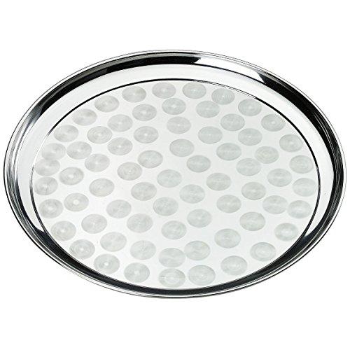 axentia 116658 Tablett aus Edelstahl - Serviertablett Rund 40 cm, Edelstahl, Silber, 40 x 40 x 20 cm