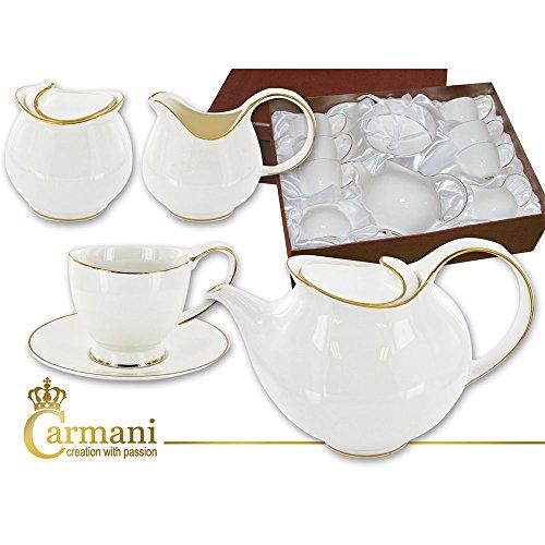 CARMANI - Blanche-Neige a thé en porcelaine avec un vrai décor or
