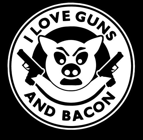 I Love Guns and Bacon - Die Cut Vinyl Decal - 5.5' W X 5.5' H White HGC1721.07