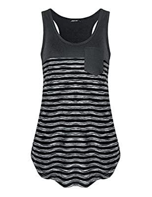 Altelime Women's Sleeveless Scoop Neck Loose Fit Casual Striped Racerback Workout Tank Top