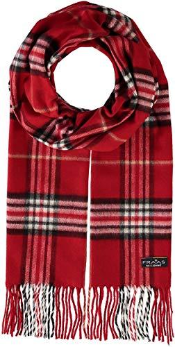 FRAAS Herren-Schal kariert aus reinem Cashmink® - 30 x 180 cm - Perfekt für Herbst & Winter - Feiner als Cashmere - Plaid Fransenschal - Made in Germany Rot
