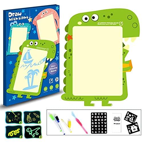 WJY Pizarras Mágicas para Niños, 3D Magic Drawing Pad 2 en 1 41cm Draw with Light Toy Tablero de Escritura Fluorescente para Niños Magia Resplandeciente Pizarra Luminosa (Color : Green)