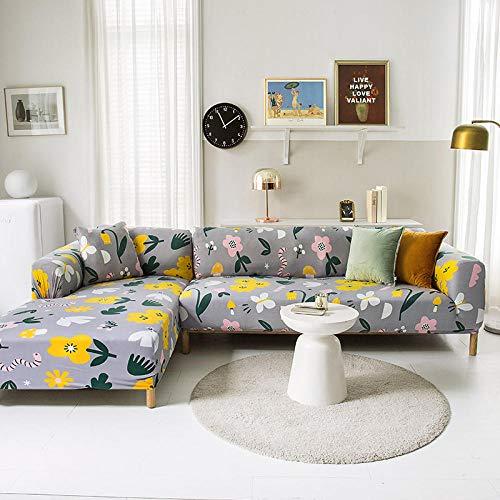 Funda Sofa 4 Plazas Chaise Longue Flores Grises Fundas para Sofa con Diseño Elegante Universal,Cubre Sofa Ajustables,Fundas Sofa Elasticas,Funda de Sofa Chaise Longue,Protector Cubierta para Sofá