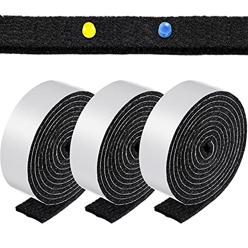 1 Inch x 60 Inch Self-Stick Felt Strips Thick Self Adhesive Felt Tapes Felt Bulletin Board Bar Strips, Pin Board Polyester Felt Strip Rolls for Protecting Furniture and DIY Adhesive (Black,3 Rolls)