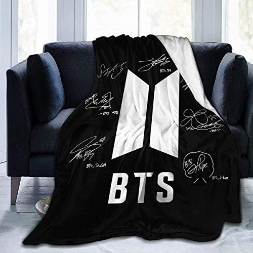 BTS Name Micro Fleece Blankets Duvets Leichte Ultra-weiche Steppdecke für Bettwäsche Sofa Mens Present 60 '' x 50 '' Schwarz