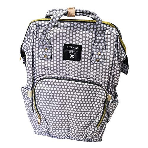 Bebewing Diaperbag Rucksack, wasserabweisend, großes Fassungsvermögen, stilvolle Handtasche mit Henkel in mehreren Mustern, (Hellbraune Punkte), Einheitsgröße