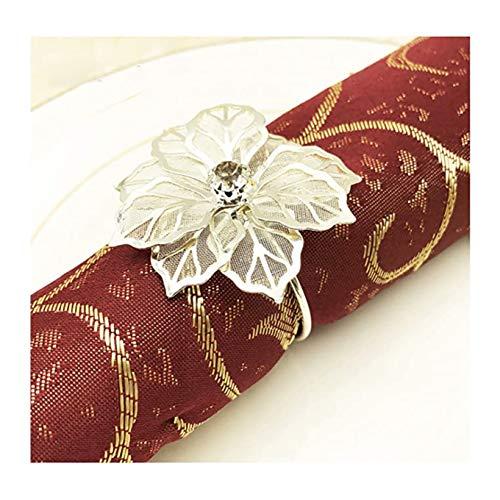 Gold Silber Serviettenringe Schnallen, 12 Stück Metall Rose Blume Serviette Schnallen für Hochzeitsfeier Abendessen Jubiläum Tischdekoration