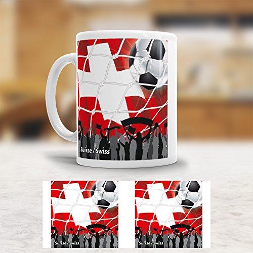 ADDIES Tasse WM Schweiz / Suisse - Schöner bedruckter Kaffee-Becher mit der Flagge Schweiz. Hochwertig verarbeitet