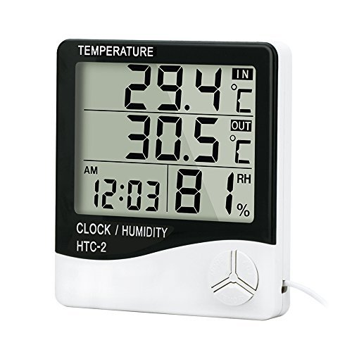 Alinktrend High Accuracy Thermometer Hygrometer- TP331D All-in-one Memory Digital Electronic hygro-thermometer Timer, Temperature and Humidity Meter, Alarm Clock Probe for Indoor and Outdoor