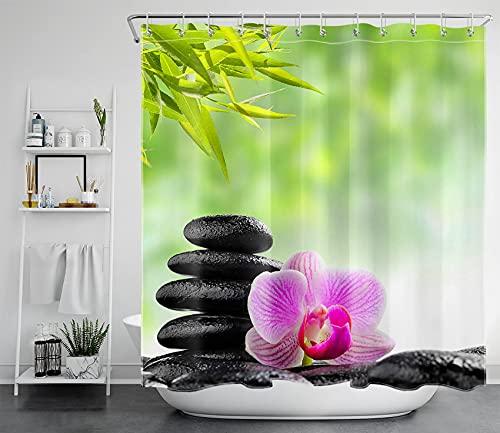 Duschvorhänge lila Orchidee & grüner Bambus-Ain, 71x78 Zoll WangXiangFeng
