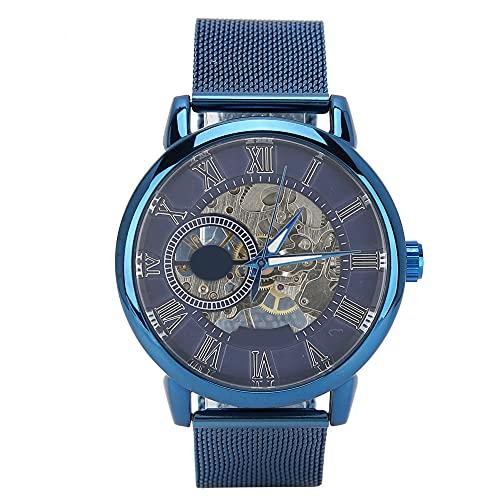 Reloj mecánico semiautomático, reloj de acero inoxidable de alta gama con esfera hueca continua, adecuado para informes formales de moda de estilo empresarial, reloj para hombre, cronógrafo, relo
