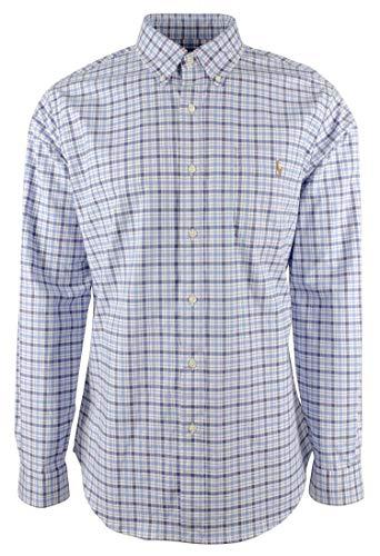 Ralph Lauren Polohemd für Herren, Slim Fit, Baumwolle, Stretch, kariert, Oxford-Hemd, Multi Blau/Weiß (Small)