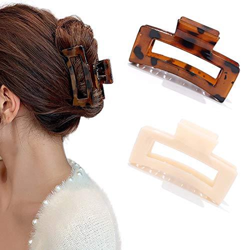 Runmi Haarklammern, Leopardenmuster, weiße Haarspangen, Haar-Accessoires für Frauen und Mädchen (2 Stück)