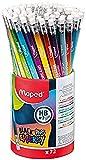 Maped – 72 lápices de grafito Black'Peps Energy HB punta goma, lápices de papel con mensajes inspiradores – Bote de 72 lápices de papel fantasía