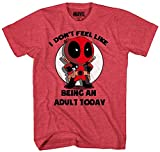Marvel Deadpool Don't Feel Like Being an Adult T-Shirt, Heather Red, Size Medium