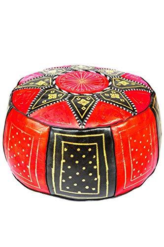 Orientalischer runder Pouf aus Leder ø 45cm Rund 30cm Hoch inklusive Füllung | Marokkanisches Sitzkissen Sitzpouf Kissen Merzougha Schwarz Rot | Marokkanischer Hocker Sitzhocker Fusshocker