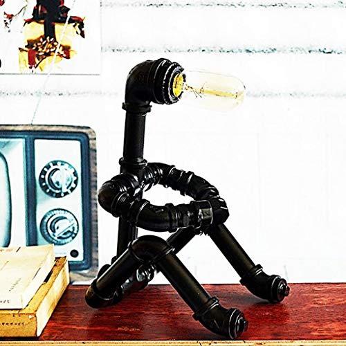 ZPP Lámpara de escritorio de lectura, dormitorio de estudiantes Lámpara de mesa-lámpara de escritorio Tubo de agua de hierro forjado retro Robot Sala de estar Dormitorio de la oficina Lámpara de lect