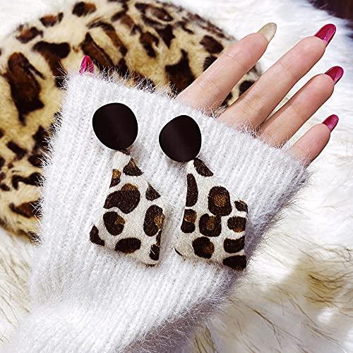 bjyxszd Pendientes Colgantes Zirconia cúbica Plata de Ley 925,S925 Silver Silver Otoño e Invierno Picar aretes geométricos de Leopardo, Nuevo Temperamento Ear Exagerado-lechoso