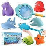 Herefun Badespielzeug Baby, 8 Stück Badespielzeug Set, Wasserspielzeug, Badespielzeug mit Fischernetz, Badewannenspielzeug Schwimmendes, Badewannen Spielzeug Kinder