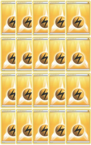 20 Basic Lightning Energy Pokemon Cards (XY/Black and White Series Design, Unnumbered) [Yellow/Electric-Type]