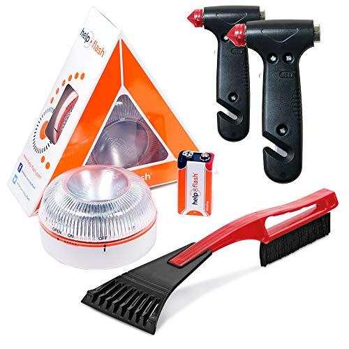 HELP FLASH - luz emergencia AUTÓNOMA peligro y linterna, homologada, normativa DGT, V16, activación AUTOMÁTICA + 2x MARTILLO rompeventanas y cortador cinturón, y RASCADOR de hielo parabrisas