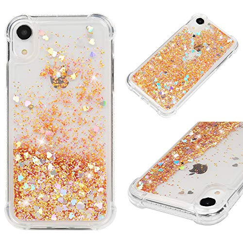 iPhone Xr Case, Mavis's Diary Bling Glitter Sparkle Flowing Liquid Quicksand Moving Sequins Protective Soft TPU Rubber Cover for iPhone Xr 2018 - Gold