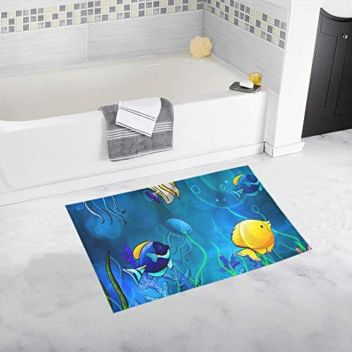Welcome Seashells Starfish Jellyfish Ocean Sea Custom Non-Slip Bath Mat Rug Bath Doormat Floor Rug for Bathroom 20 X 32 Inch