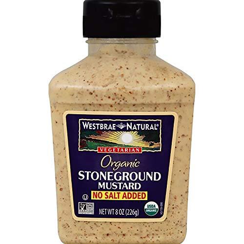 Westbrae Natural Organic Stoneground Mustard, No Salt Added, 8 Oz (Pack of 12)