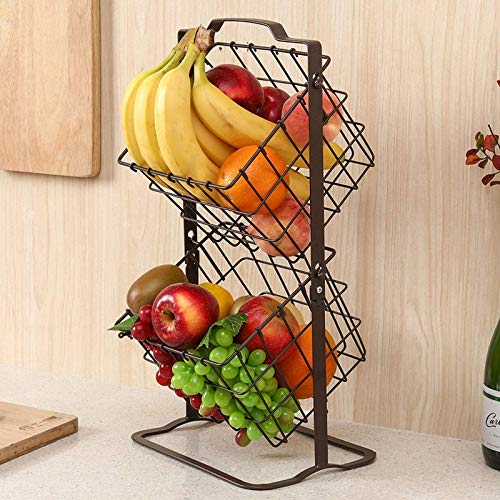Tucson Estante organizador de almacenamiento de 2 niveles para frutas, verduras, artículos de tocador, artículos del hogar