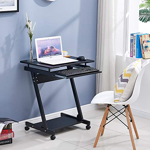 BOJU Mobile Z Shaped Computer Desk Table for Small Space Laptop Workstation with Wheels Keyboard Tray for Sofa Couch Movable Trolley Side Table for Bedroom Corner (Black)