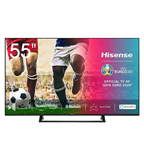 Hisense 55AE7200F 139 cm (55 Zoll) Fernseher (4K Ultra HD, HDR, Triple Tuner DVB-C/S/S2/T/T2, Smart-TV, Mittelstandfuß, Frameless, Bluetooth, Alexa)