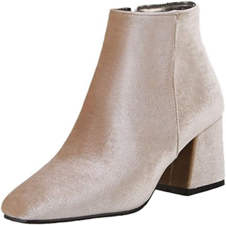 Smilice Women Fashion Velvet Ankle Boots