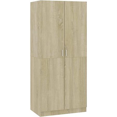 Festnight Garde-Robe Armoire de Rangement Armoire Chambre Penderie Chêne Sonoma 80x52x180 cm Aggloméré