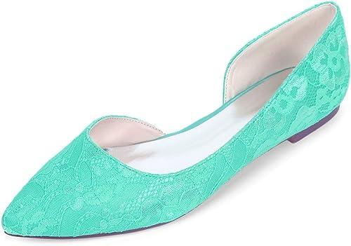 BeBridal Bout Pointu SimpleHommeste Lace Plat Chaussures de Mariee,Lakebleu,EU38