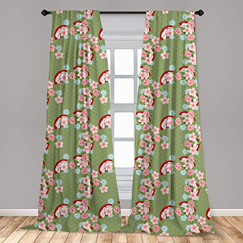 Lunarable Green Oriental Curtains 2 Panel Set, Cluster of Spring Flower Hand Fan Scattered on Geometric Background, Lightweight Window Treatment Living Room Bedroom Decor, 56' x 63', Multicolor