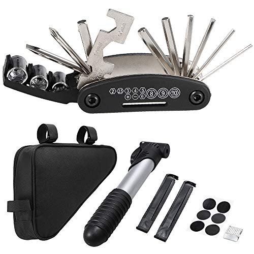 Lixada Radtasche Triangle Bag Fahrrad Tasche mit Fahrrad Reparatur Werkzeug Set 16-in-1-Multi-Tool Schraubendreher Schraubenschlüssel
