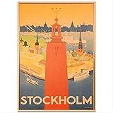 hzcl Cartel De Papel, Estocolmo Ciudad Paisaje Cartel Pintado A Mano Dibujo Pared Arte Pegatina Vintage Kraft Papel Hotel Sala De Estar Decoración 42x30cm