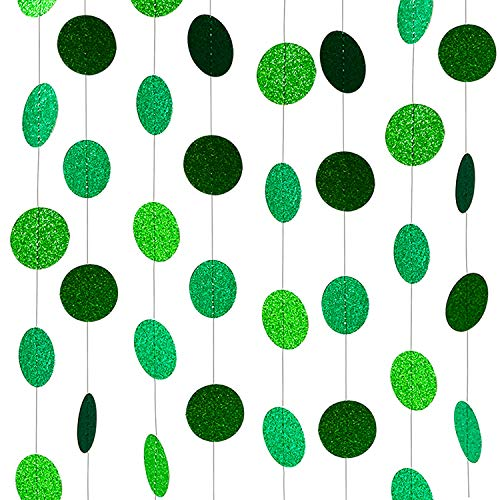 XIANMU Glitter Green Paper Garland Circle Dot Party Banner Hanging Streamer Backdrop Decorations for Green Theme Party, St Patrick's Day, Wedding, Birthday, Baby Shower Party Supplies 40 Feet