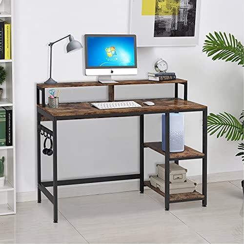 Dripex Schreibtisch, Computertisch mit Regale und Haken, Bürotisch PC Tisch für Home Office, Holz Arbeitsplätze und Metallrahmen, Vintagebraun, 107x75x50cm