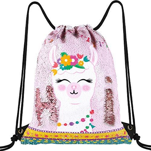 WERNNSAI Llama Brillante Bolsade Cuerdas - Mochila de Lentejuelas Sirena Regalo Mágicas Reversible Cordón Saco de Viaje Baile Deportivo para Niñas Niños