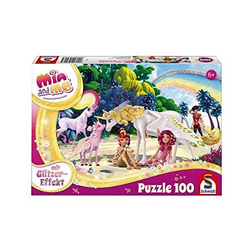 Schmidt Spiele 56246 Mia & Me, Glitzerpuzzle, Am Strand, 100 Teile, Weiss