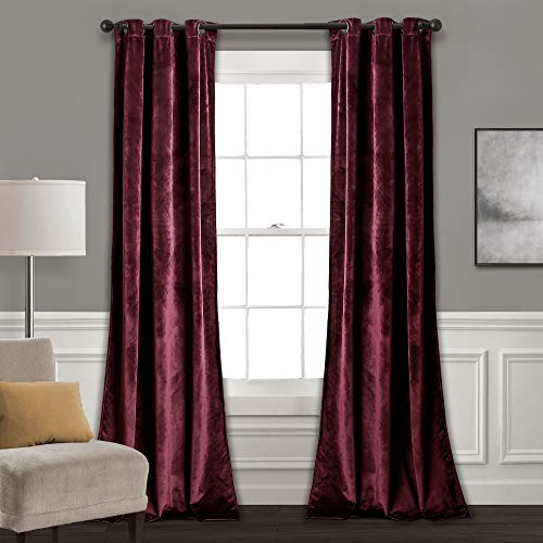 "Lush Decor Prima Velvet Curtains Color Block Room Darkening Window Panel Set for Living, Dining, Bedroom (Pair), 84"" L, Plum"